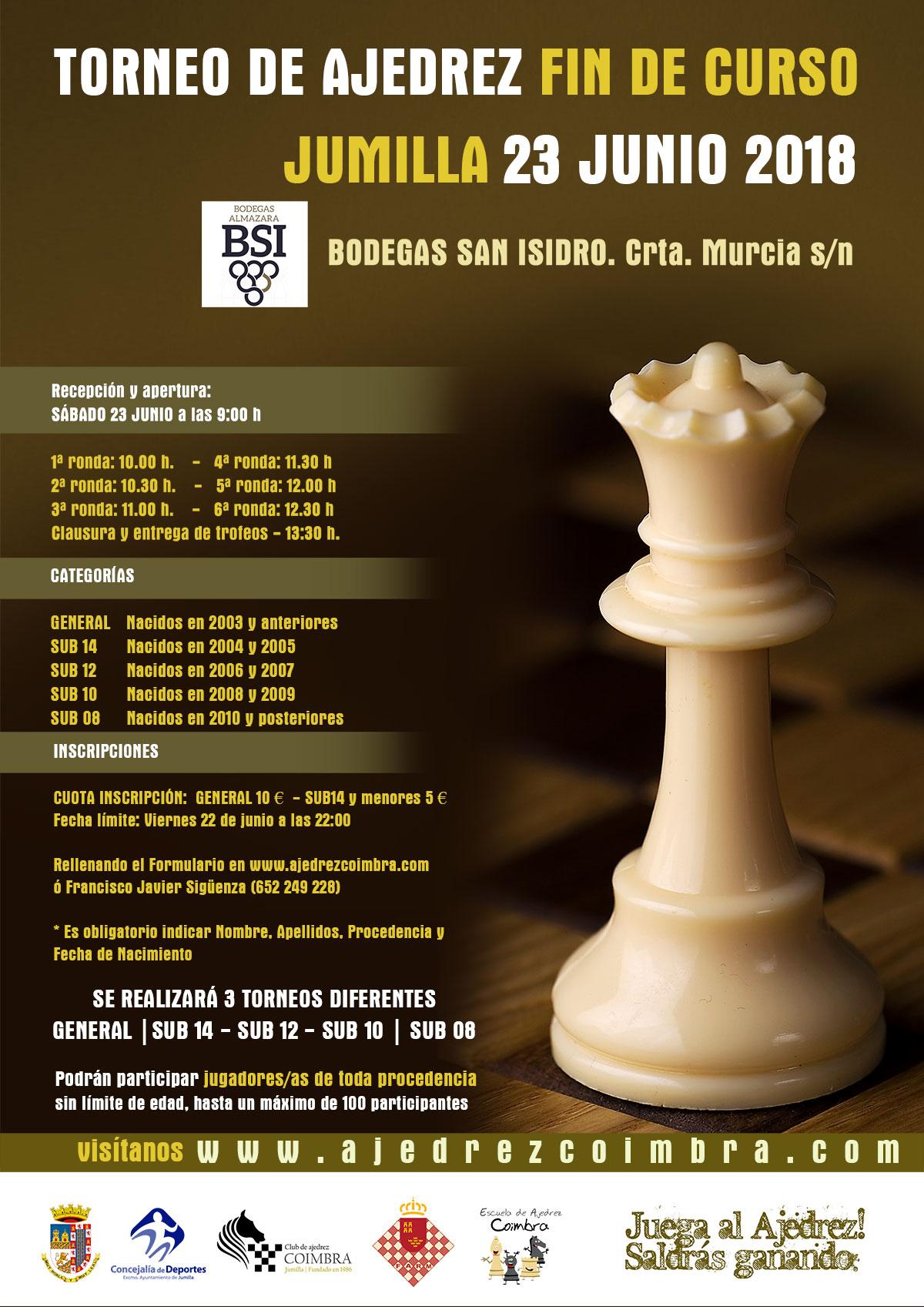 "Torneo de Ajedrez Fin de Curso Jumilla «23 Junio 2018» <img border=""0"" src=""https://3.bp.blogspot.com/-y_aaU0FTncM/V0APF_0MnxI/AAAAAAAAsi8/QfB3r4uk_BAcFSYADUEQAk_lwedJf-ujACKgB/s1600/recomendado.png"" />"