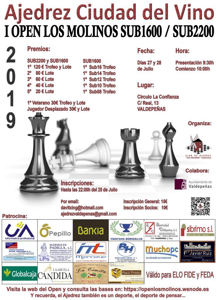 cartel open ajedrez los molinos